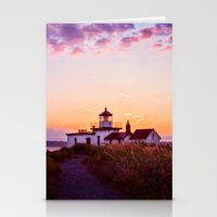 Discovery Park Lighthouse at sunset Stationery Cards