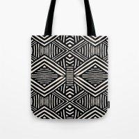 Black Aztec Tribal Geome… Tote Bag
