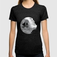 Yoda Phone Home Womens Fitted Tee Tri-Black SMALL
