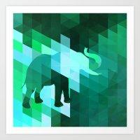 Emerald Elephant Art Print