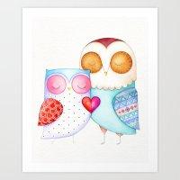 Love Birds - One Heart - Owl Couple Art Print
