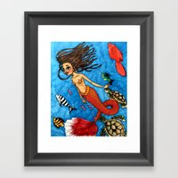 Swimming with fish Framed Art Print