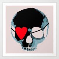 Blue Punk Skull With Hea… Art Print