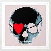 Blue punk skull with heart Art Print