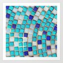 Blue Tiles - an abstract photograph. Art Print