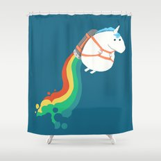 Fat Unicorn on Rainbow Jetpack Shower Curtain
