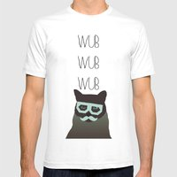 Dubstep Cat Mens Fitted Tee White SMALL