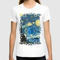 Flying Tardis Doctor Who… Womens Fitted Tee White X-LARGE