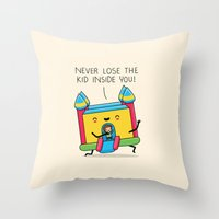 The kid inside you Throw Pillow