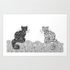 Black Cat White Cat Art Print