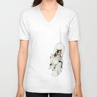 V-neck T-shirt featuring DO NOT DISTURB by Goosi