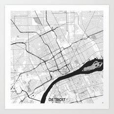 Detroit Map Gray Art Print