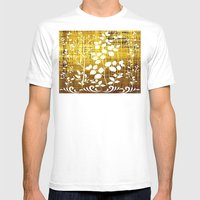 White Leaves Decor On Go… Mens Fitted Tee White SMALL