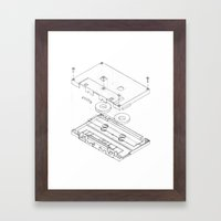 Exploded Cassette Tape  Framed Art Print
