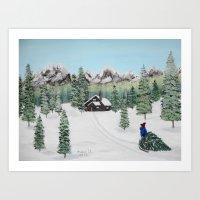 Christmas on the mountain Art Print