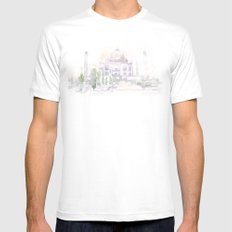 Watercolor landscape illustration_India - Taj Mahal Mens Fitted Tee White SMALL