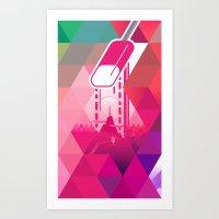 Raspberry Popsicle Art Print