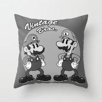 Vintage Bros. Throw Pillow
