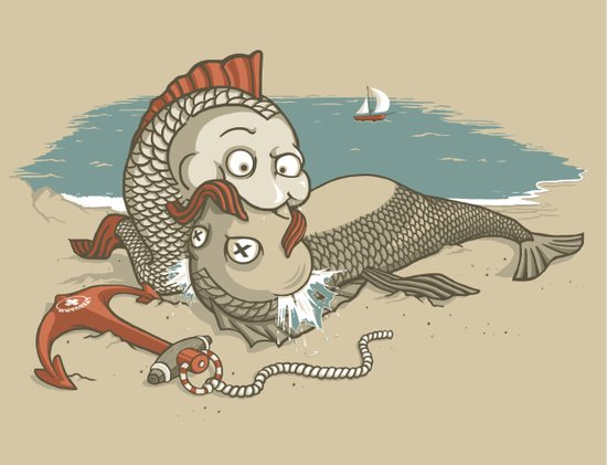 Fish Mouth to Mouth Art Print