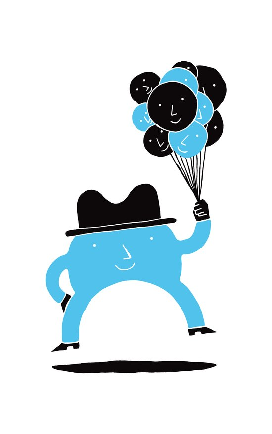 Blue-Boy Balloon Art Print