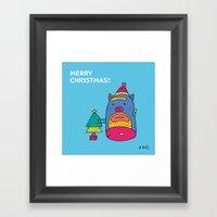 Santa Pig Framed Art Print