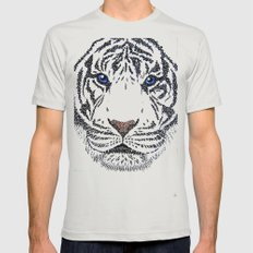White Tiger Mens Fitted Tee Silver SMALL