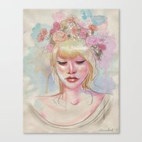 Watercolors And Floral C… Canvas Print