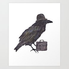 Raven, goth, goth art, business man raven, office decor, gift for boss like no other Art Print