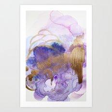 Watercolor Gold Purple Art Print