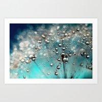 Ocean Blue  and White Dandy Drops Art Print