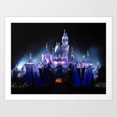 Sleeping Beauty's Winter Castle (Night-time, no 1) Art Print