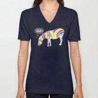 Rainbow Zebra Unisex V-Neck