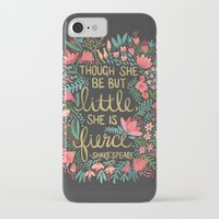 floral iPhone & iPod Cases featuring Little & Fierce on Charcoal by Cat Coquillette