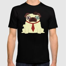 Pug in a Hat Mens Fitted Tee Black SMALL