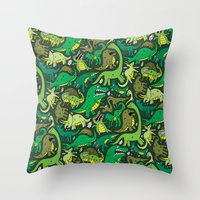 Dino Pattern Throw Pillow
