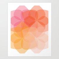 Geometric Flower Coral Peach Orange Pink Art Print