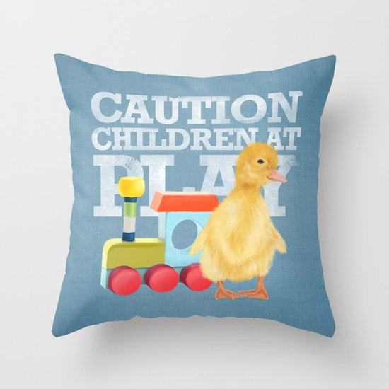 A duckling with a wood colored toy on a light blue background Throw Pillow