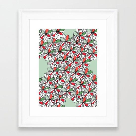 Xmas Floral Doodle Framed Art Print