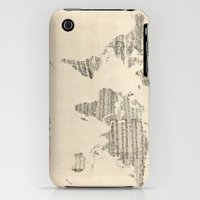 iPhone 3Gs & iPhone 3G Cases featuring Old Sheet Music World Map by artPause
