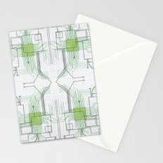 Circuit board green repeat Stationery Cards
