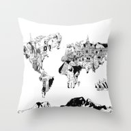 World Map Black And Whit… Throw Pillow