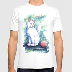 Playing Kitty White SMALL Mens Fitted Tee