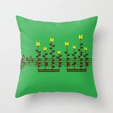 Music notes garden Throw Pillow
