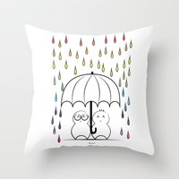 Mimos Under Rainbow Rain Throw Pillow