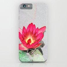 art style pretty pink waterlily flower  Slim Case iPhone 6s