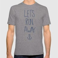 Let's Run Away: Sandy Be… Mens Fitted Tee Tri-Grey SMALL