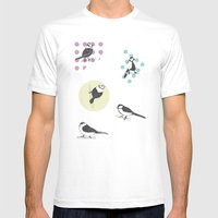 Birds And Dots Mens Fitted Tee White SMALL