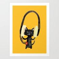 I Love Huge Headphone Art Print
