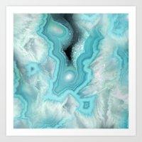Aqua Sea Stone Art Print