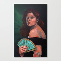 Lady With Fan Canvas Print